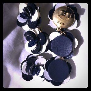 J. Crew NWOT navy and white flower dangle earrings